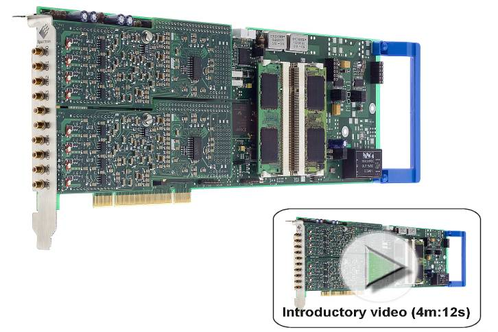 M2i.49xx board image with introductory video link describing dynamic performance, operating modes and software interface