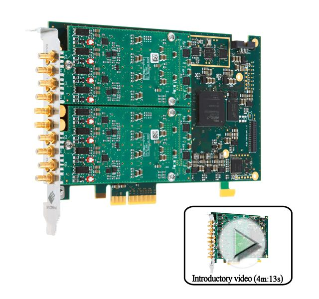 M2p.5943-x4, 16 bit 125MS/s 8 channel SE/DIFF signal capture card. Image with introductory video link describing dynamic performance, operating modes and software interface