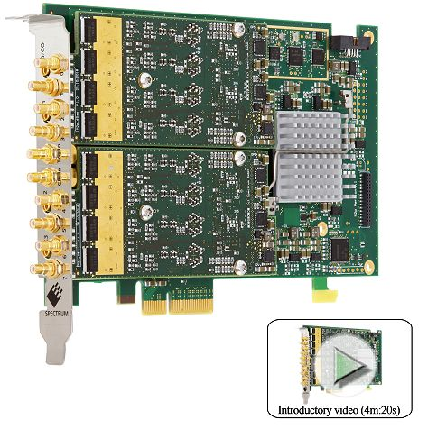 m2p6566-x4 eight channel arbitrary wavefrom generator card for the PCI express bus. Image with introductory video link describing dynamic performance, operating modes and software interface