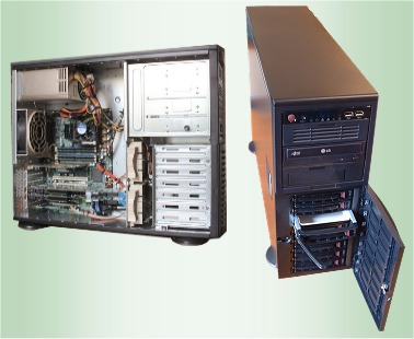 Two views of a Supermicro based tower system with Spectrum cards installed. Panel removed for side shot.